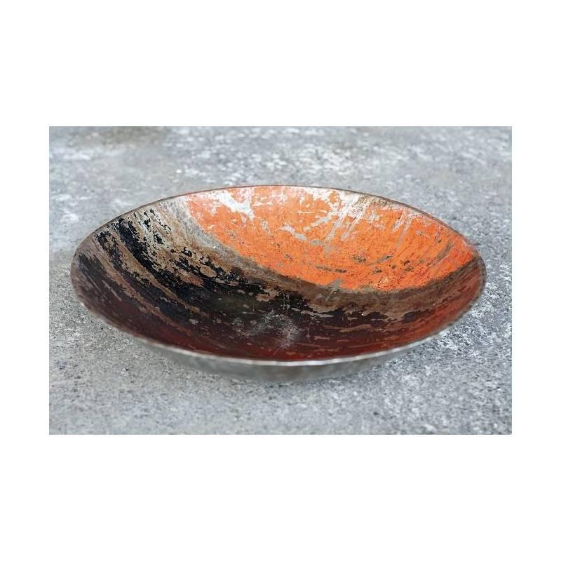 Plats en barils de pétrole recyclés - couleur orange et noir