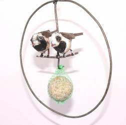 Porte boule de graisse cercle 2 oiseaux
