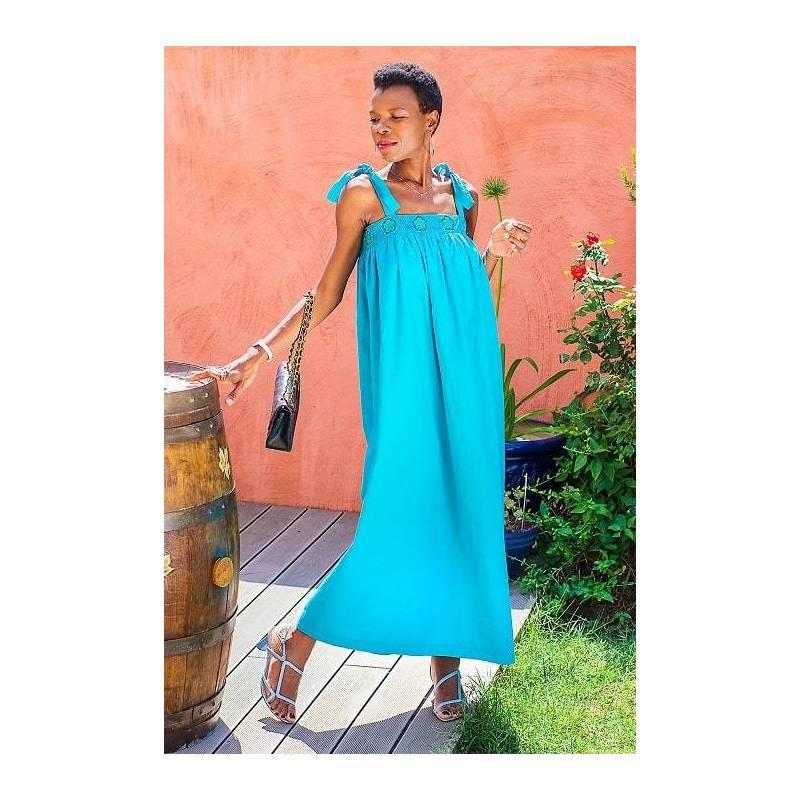 Robe LAGON guipure bleue